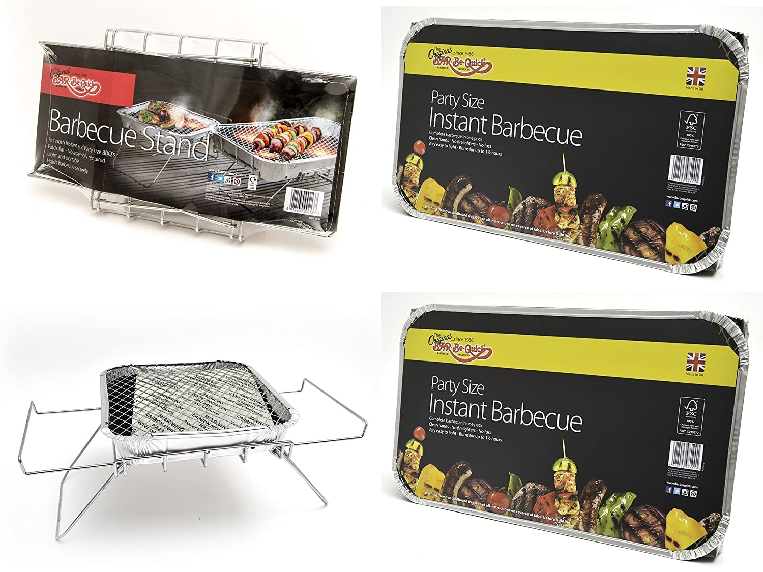 Bar-Be-Quick Instant Barbecue Stand- Foldable Instant BBQ stand. Fits both size of disposable barbecue, No assembly. Light & portable. + 2 X Family size Instant BBQs- Each cooks for ten!