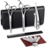 "Professional Hair Scissors Set 2 pcs Thinning Scissors Hairdressing Barber Scissors Set 6"" with Stainless Steel Razor 5 Blade for Elehot"