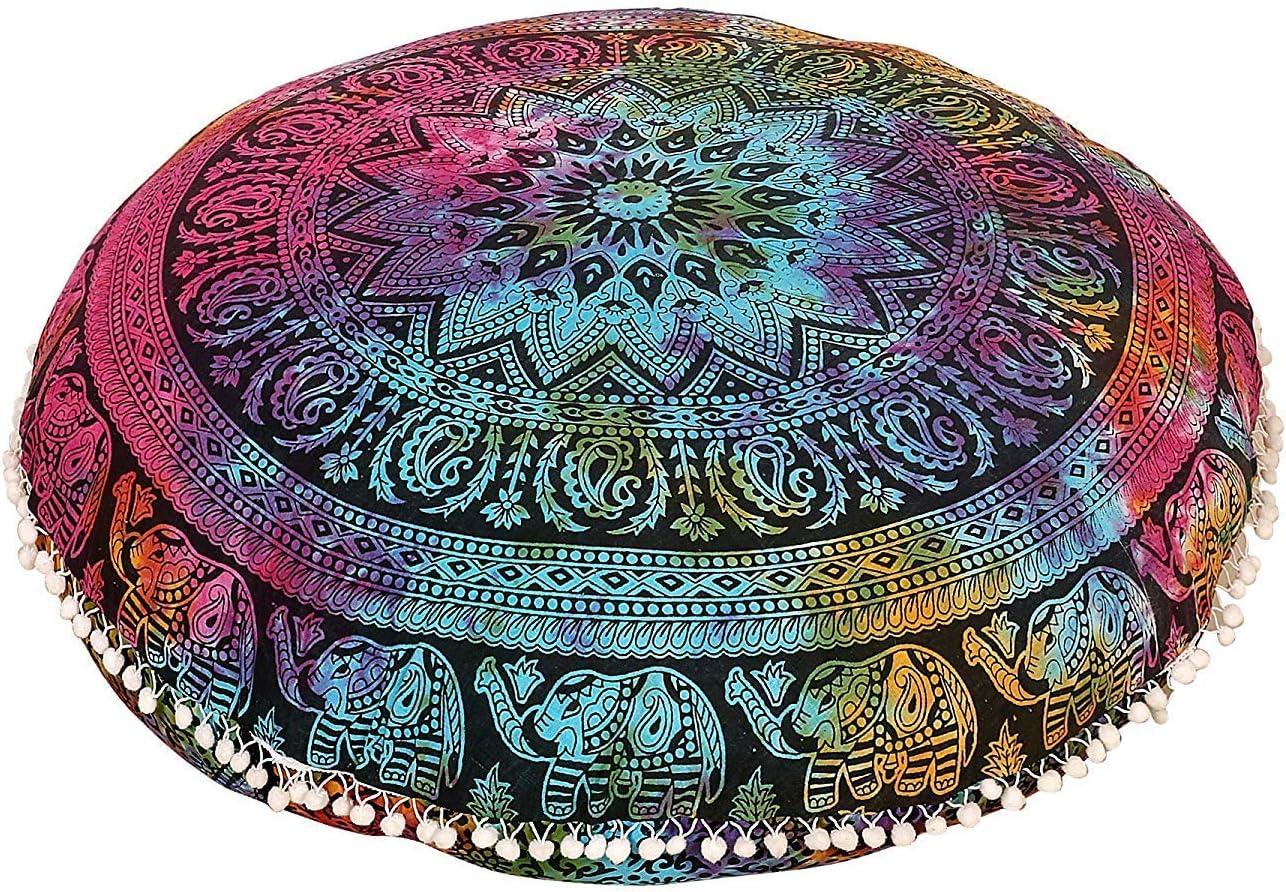 "32"" Multi Elephant Mandala Floor Pillow Meditation Bohemian Cushion Seating Throw Hippie Decorative Boho Indian Large Ottoman Outdoor Home Decor Cases Round Sham Cotton Animal Pouf (Cover Only)"