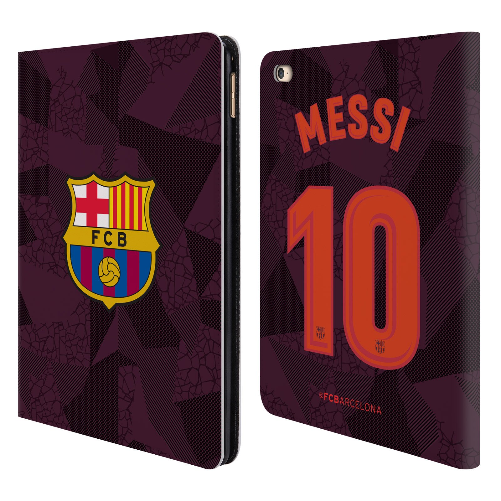 Official FC Barcelona Messi 2017/18 Players Third Kit Group 1 Leather Book Wallet Case Cover Compatible for iPad Air 2 (2014)