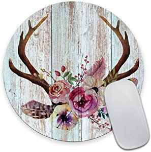 Smooffly Mousepad Farmhouse Mousepad Wood Mouse pad Boho Mouse pad Flowers Teachers Gift Mouse mat Round Mouse pad Office Supplies Friends