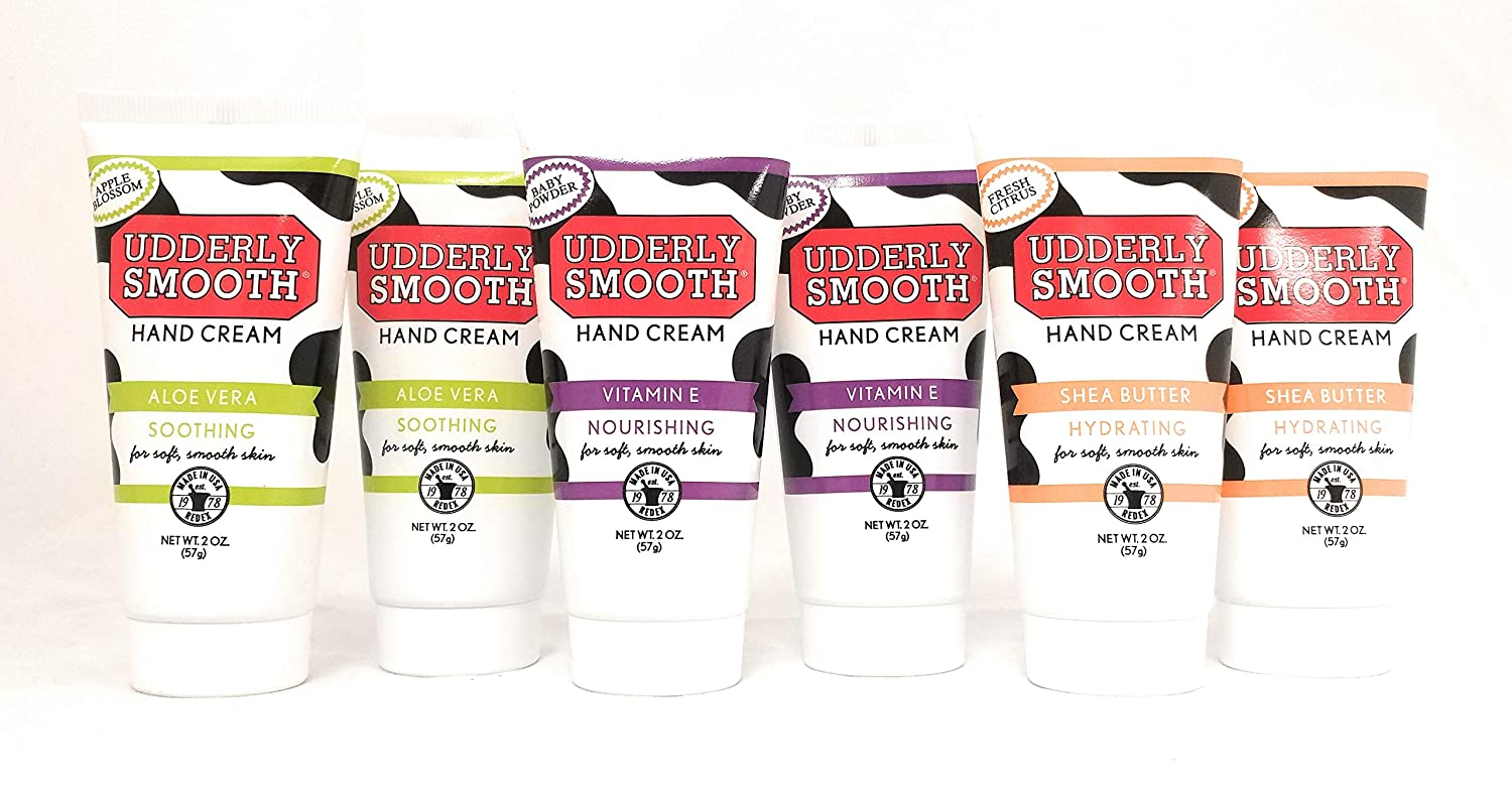 Udderly Smooth Hydrating Hand Cream Variety Pack (2 of each scent), 2 oz. each, Travel Size Lotion - 6 Pack
