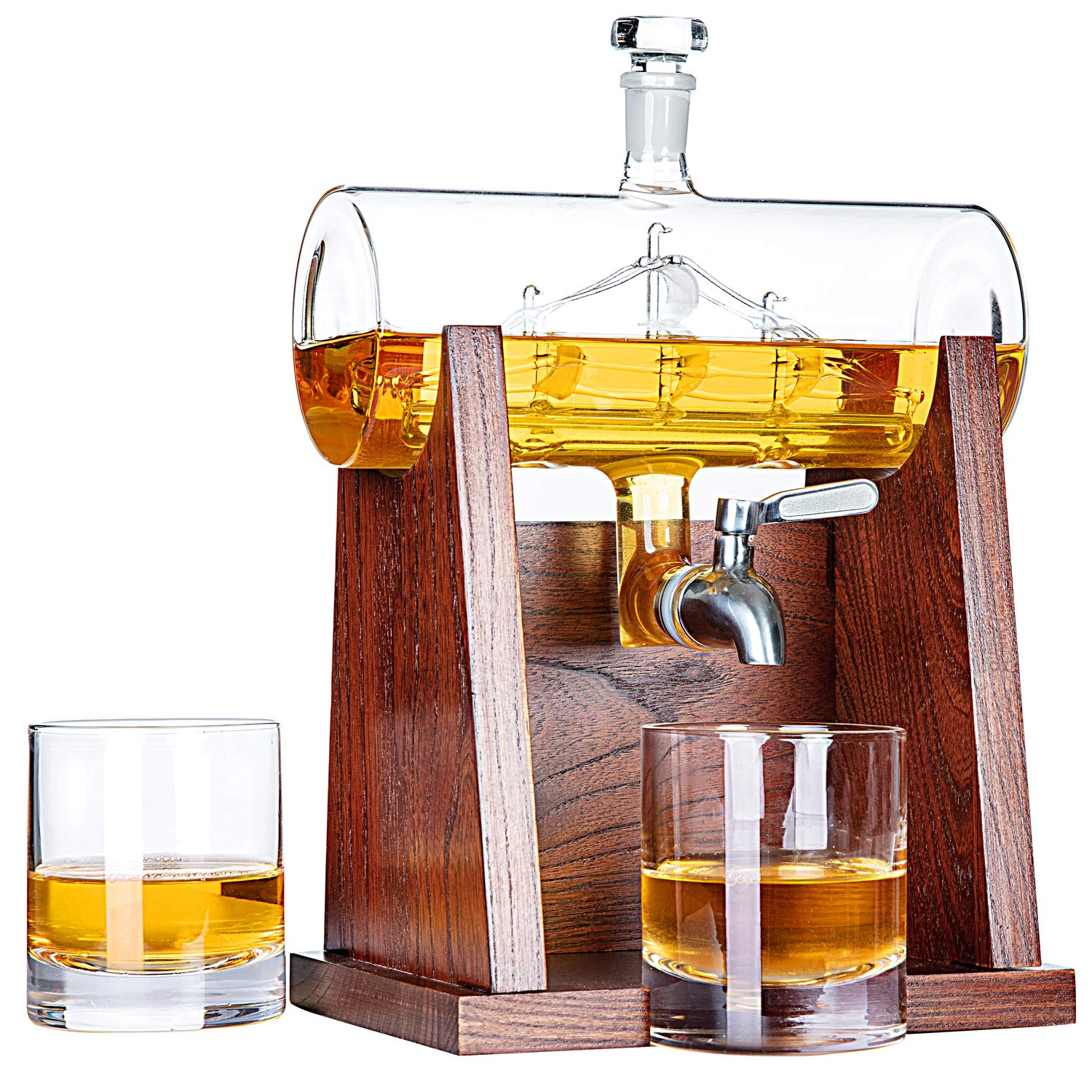 Jillmo Whiskey Decanter Set with 2 Glasses - 1250ml & 42 oz Lead Free Barrel Ship Dispenser with Detachable Wooden Holder Gift for Liquor, Scotch, Bourbon, Vodka, Whisky, Rum & Alcohol by Jillmo (Image #2)