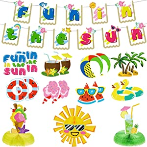 20 Pieces Summer Party Decorations Fun in The Sun Banner Decor Tropical Hawaiian Pineapple Coconut Tree Watermelon Juice Decor Ice Cream Tissue Honeycomb Supplies for Beach Pool Party Home Decor
