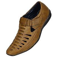 Emosis Men's Stylish Tan Brown Black Colour Outdoor Formal Casual Ethnic Loafer Slip-On Sandal Shoe