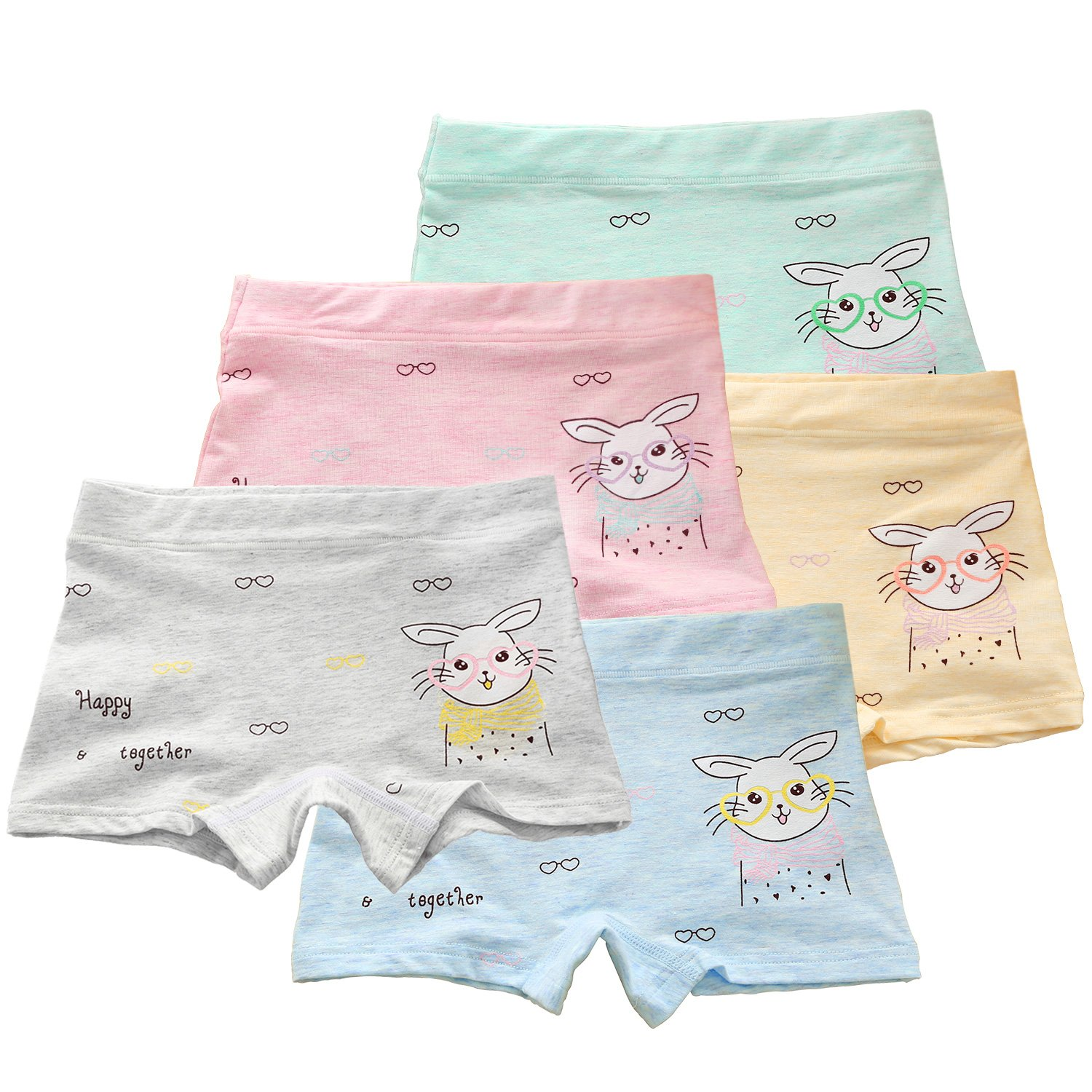 BOOPH Girls Panties, 5-Pack Glasses Rabbit Bunny Baby Toddler Briefs Underwear Kids Hispster for Girl 2-3 Years