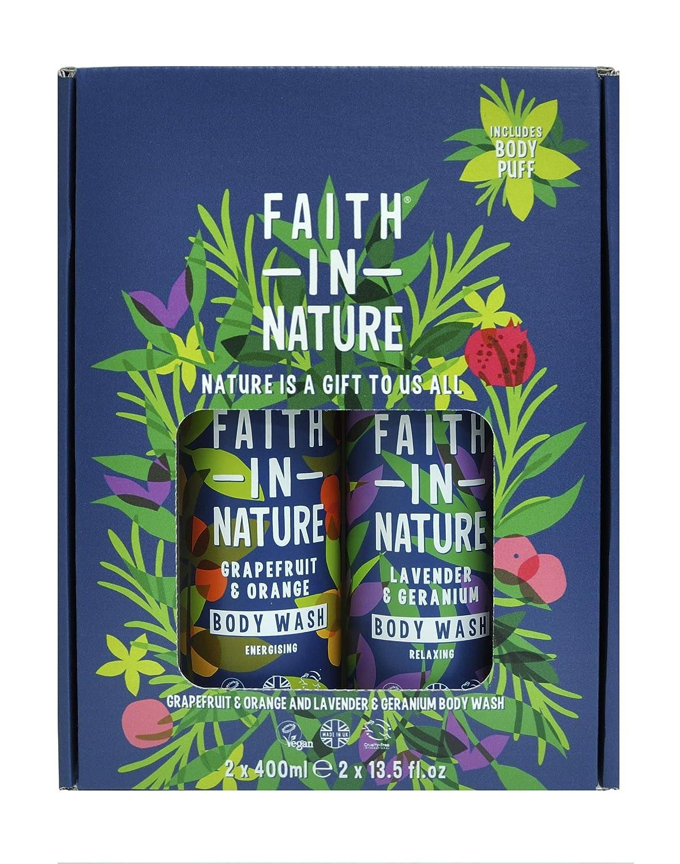 Faith In Nature Grapefruit & Orange and Lavender & Geranium Body Wash 2 x 400ml.