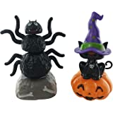 Milwood Brothers Halloween Witches Cat and Her Trusty Spider Solar Powered Dancing Toys (Set of 2)