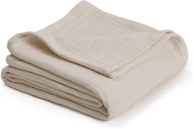 COTTON WOVEN BLANKET BY VELLUX - Natural, Cozy, Warm, Chevron Textured, Pet-Friendly, All-Seasons - Ecru