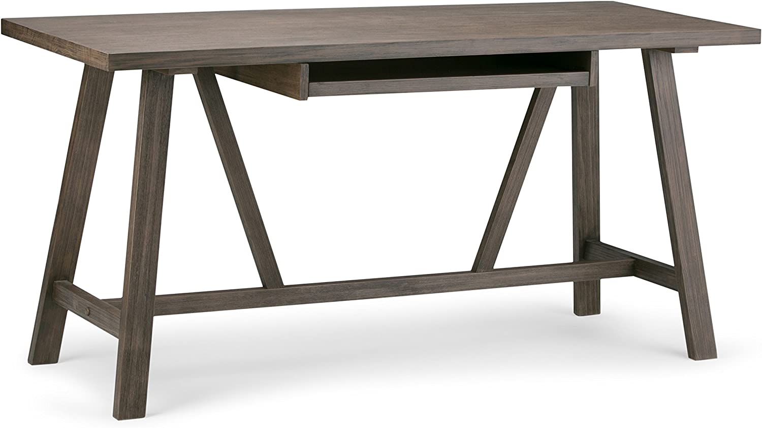 SIMPLIHOME Dylan SOLID WOOD Modern Industrial 60 inch Wide Home Office Desk, Writing Table, Workstation, Study Table Furniture in Driftwood