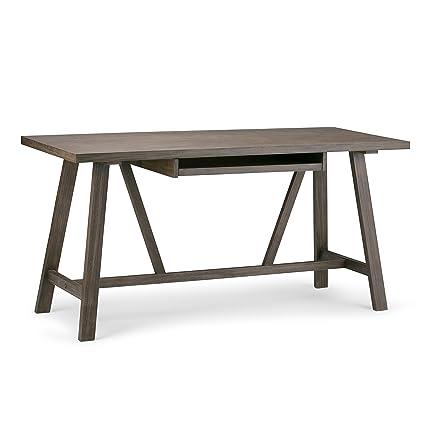 Simpli Home Dylan Solid Wood Desk, Driftwood