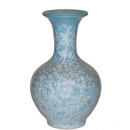 Beautiful Unique Crystalline Vase Tulip Design In Duck Egg Blue