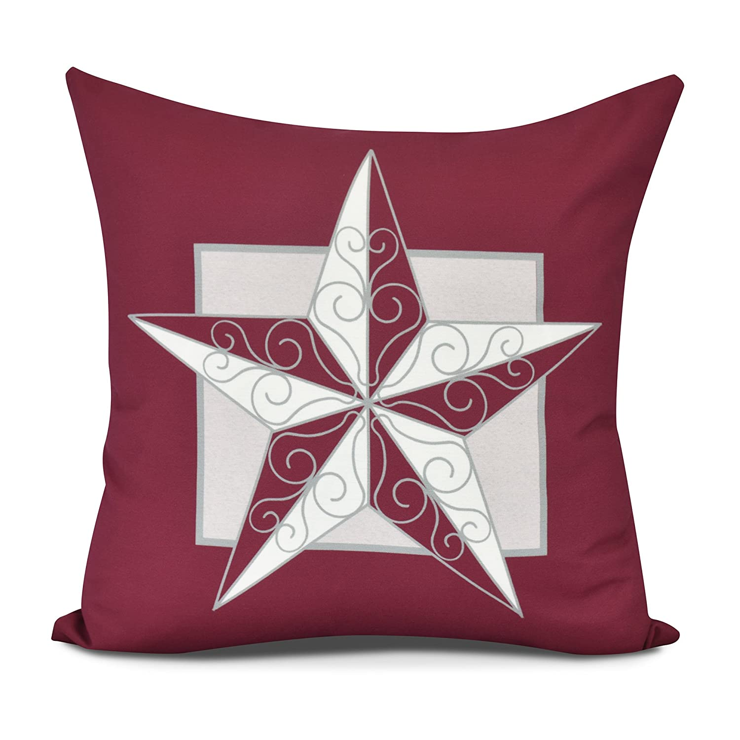 E by design PHG958RE6-26 Night Star Decorative Geometric Throw Pillow 26' Red
