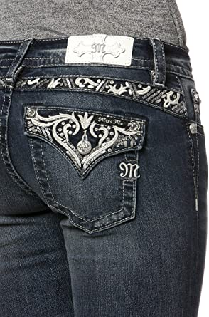 Miss Me Womens Mid-Rise Boot Cut Jeans with Silver Lace Design Embellishments