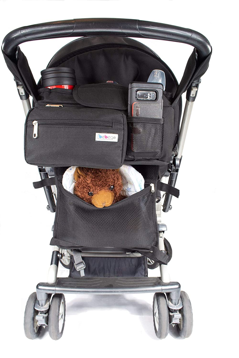 BebeGo Stroller Organizer with Cup Holder and Diaper Storage Detachable Baby Changing Mat and Extra Storage