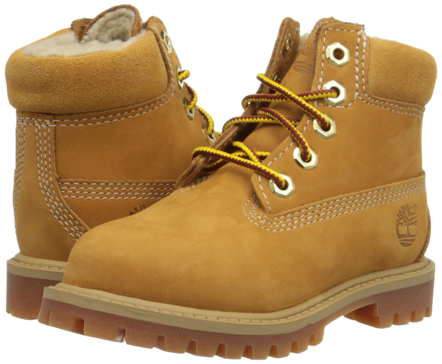Timberland 6 Inch Premium With Faux Shearling Boot (Toddler/Little Kid/Big Kid), Wheat Nubuck, 4 M US Big Kid by Timberland (Image #6)