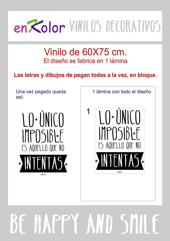 Enkolor Vinilos Decorativos Frases motivadoras/Pegatinas Pared/Lo imposible/Negro/60X75cm.: Amazon.es: Hogar