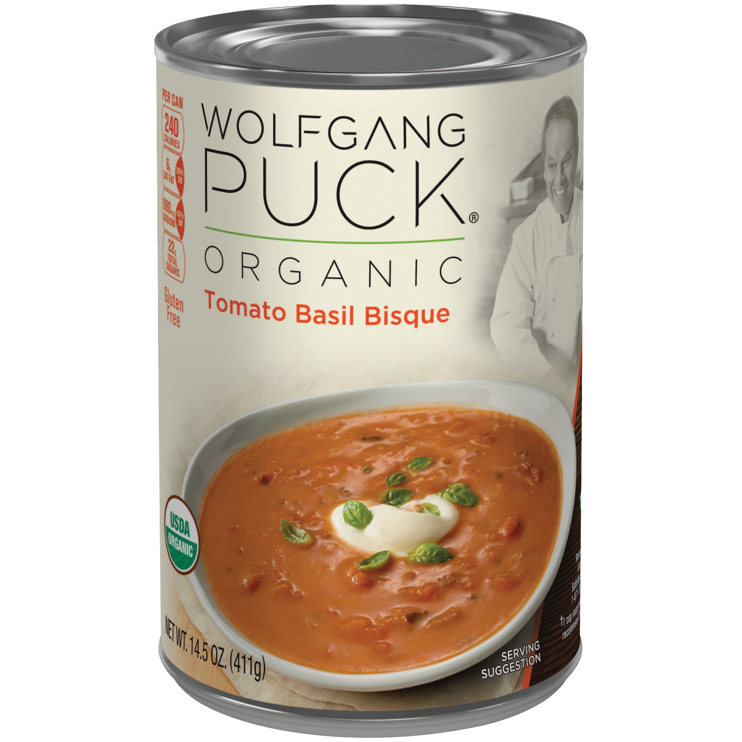 Wolfgang Puck Organic Soup, Tomato Basil Bisque, 14.5 Ounce