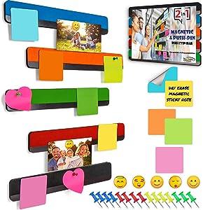Inooves Combo Bulletin Board Strips - 5 Color Self Adhesive Backing Magnetic Metal Felt Push Pin Bars, Better Than Cork Strip Bulletin Bars or Cork Board Strips for Walls, Home Office Memo Corkboard
