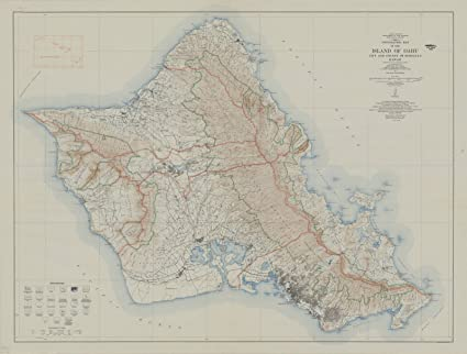 Topographic Map Oahu.Amazon Com Historic Map Oahu Hawaii 1938 Topographic Map Of