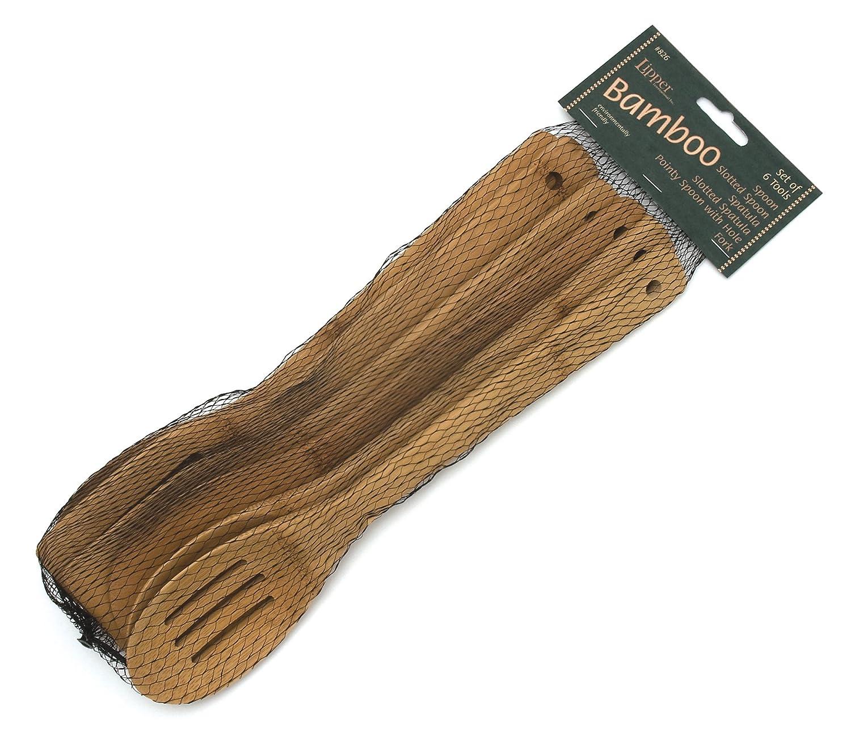 in Mesh Bag Lipper International 826 Set of 6 Bamboo Kitchen Tools