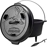 Overmont Camp Dutch Oven 11.2x11x8in All-round Cast Iron Casserole Pot Dual Function Lid Skillet Pre Seasoned with Lid…