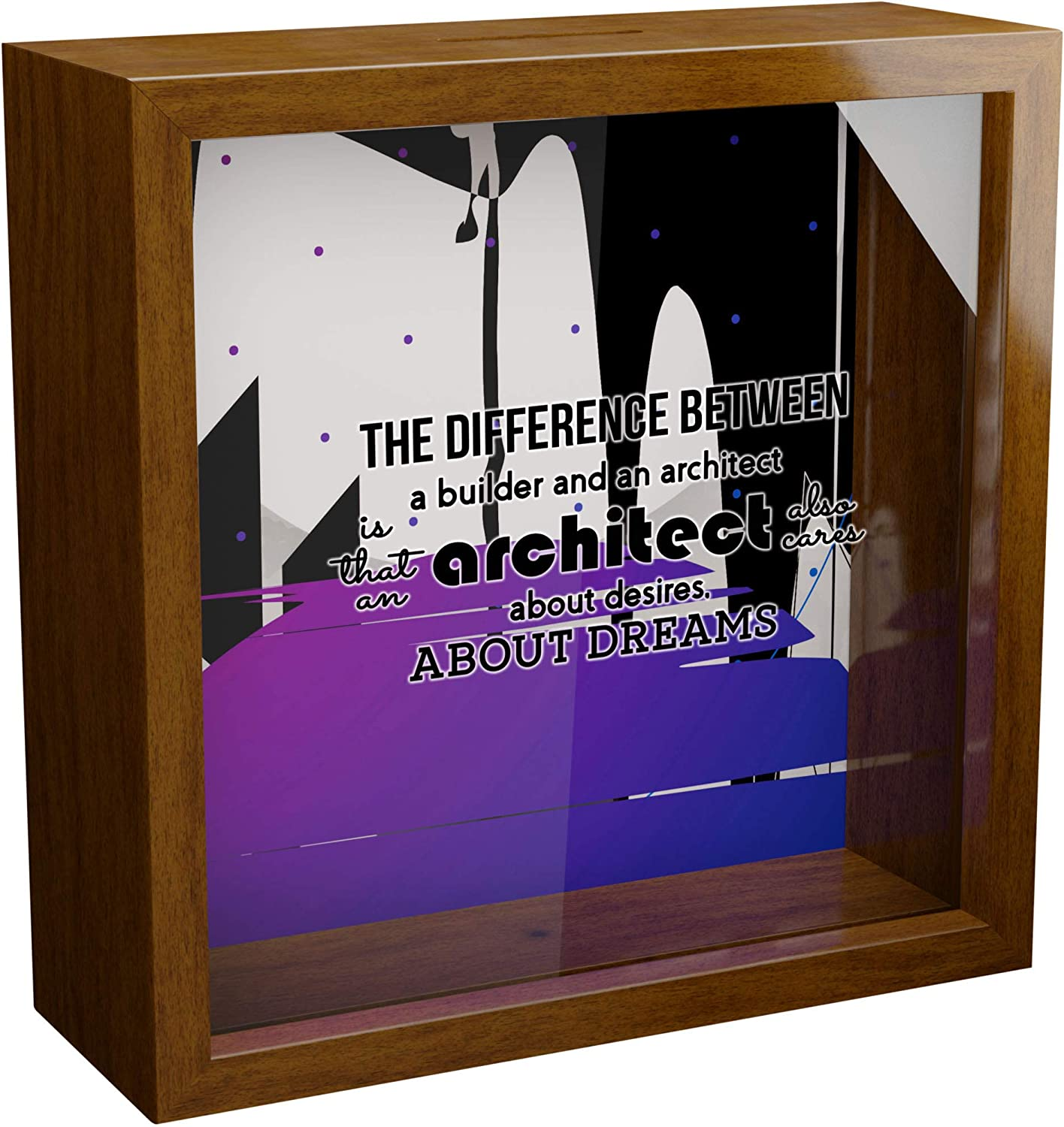 Architect Gift   A 6x6x2'' Themed Shadow Box for Architects   Architecture Gift for Women & Men   Present for Architect Student   Architectural Home Decor   Wooden Architect Keepsake Picture Frame