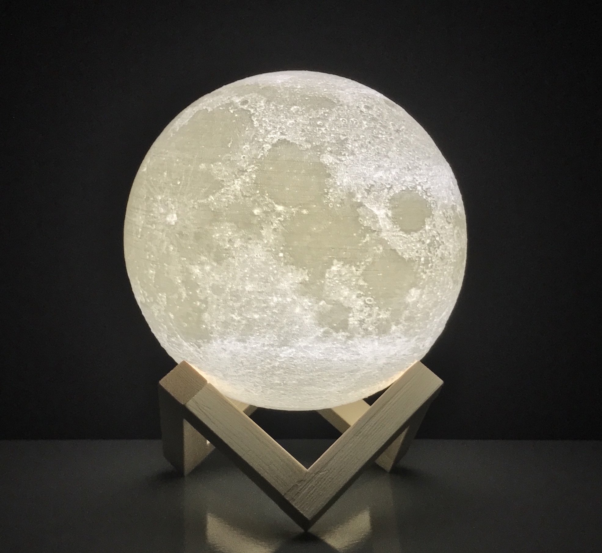 Moon Lamp Round Night Light 3D printed | FREE EBOOK | Dimmable Brightness, Touch Sensor, USB Charger, Warm & Cool White Lights, Amazing Lunar Details | For Bedroom, Desk, Home & More (4.7 inch)