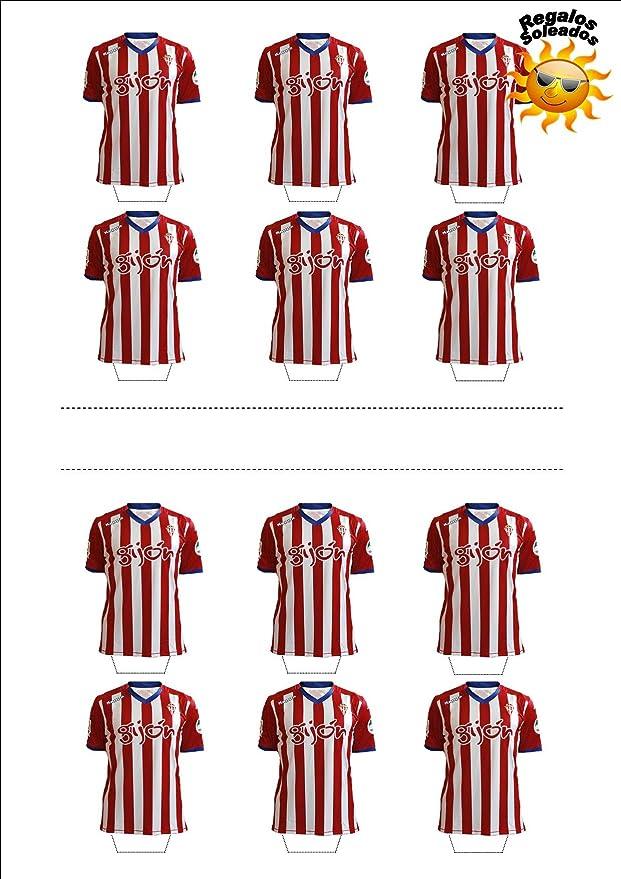 12 x Sporting Gijón Camiseta de Fútbol 2016-17 Decoración Comestible Personalizacion de Reposteria Feliz Cumpleanos: Amazon.es: Hogar