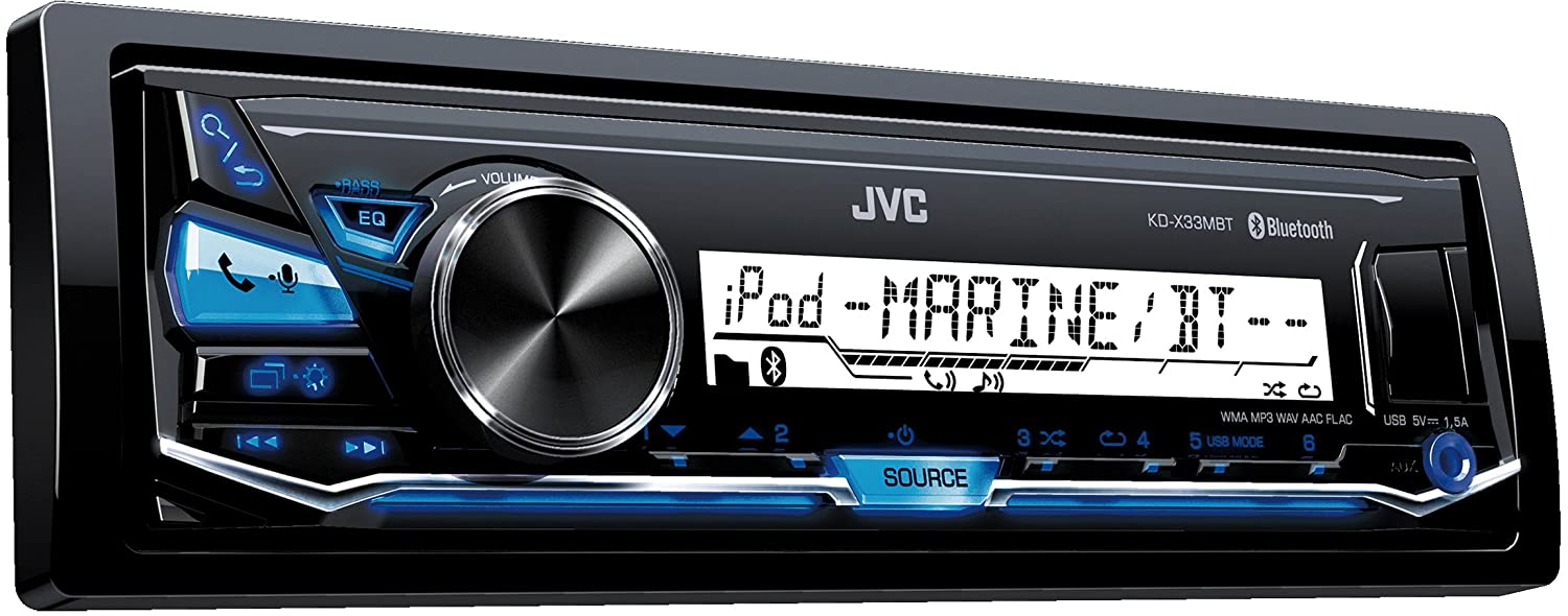 JVC Marine Vehicle Stereo Receiver with Bluetooth and USB Inputs KD-X33MBT