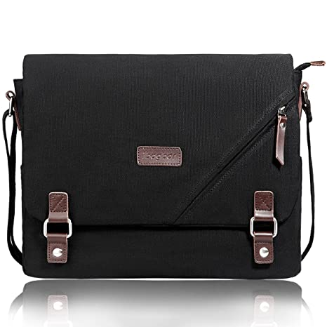 16a3a4fba8 ibagbar Upgraded Canvas Messenger Bags 14 Inch Shoulder Crossbody Bag Laptop  Computer Bags with Padded Sleeves