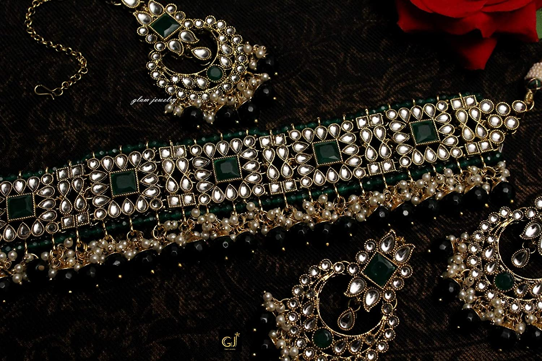 Glamorous Collection Gold Kundan Green Choker Semi Bridal Indian Wedding Necklace Ethnic Bollywood Jewelry Set