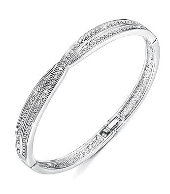 Menton Ezil 18K White Gold Princess Bangle Bracelets With Swarovski Element Crystal Women Jewellery - Gift of Love ayLrfu