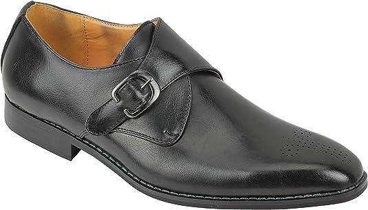 TALLA 40 EU. Zapatos De Cuero Formales Individual Clásica Hebilla Hombres De Negro Ocasional Elegante En Azul Tan