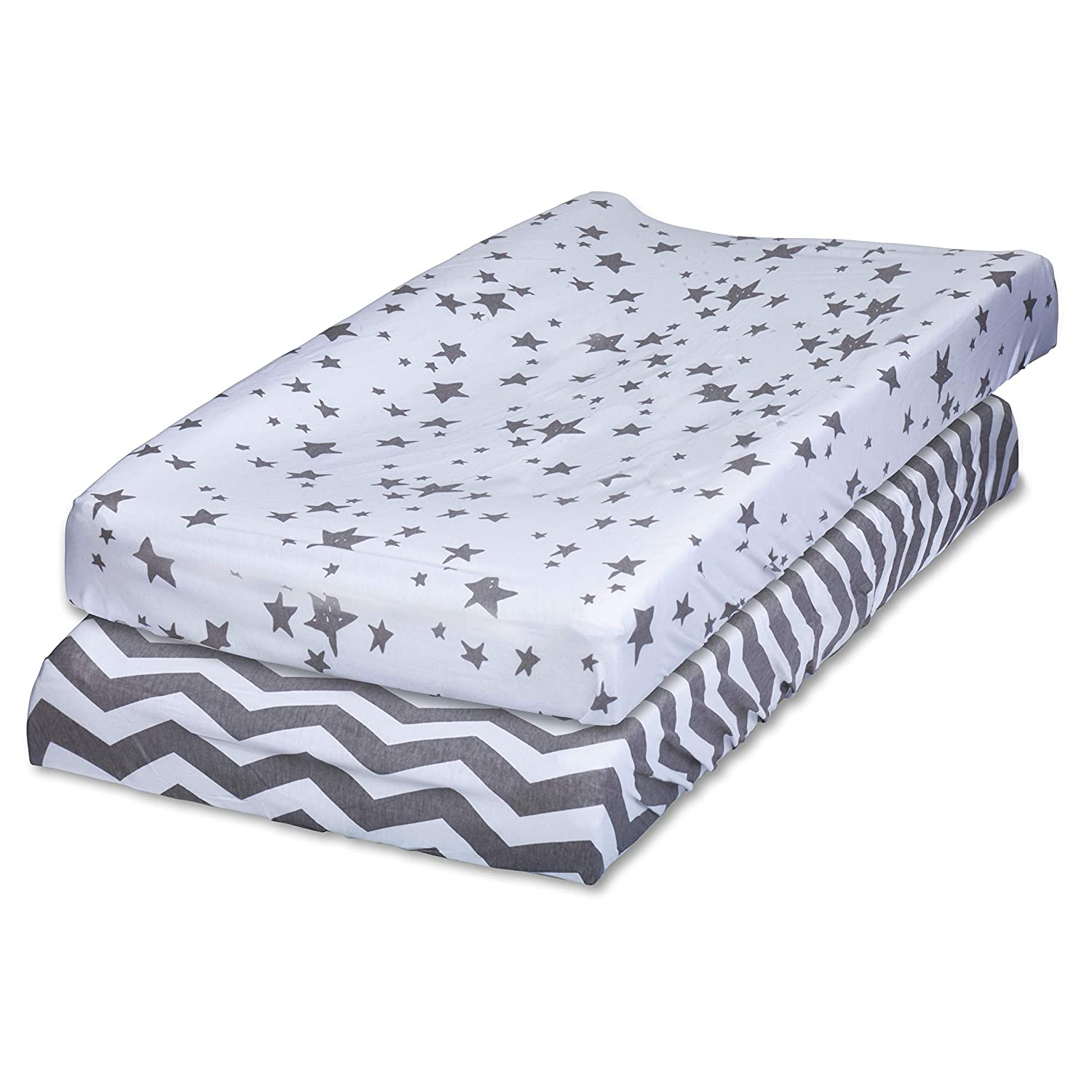 Changing Pad Cover Set - 2 Pack - 100% Jersey Cotton Fabric. Stylish Gray Chevron and Star Prints. Perfect for Baby Girl and Baby Boy Mr. Storkey