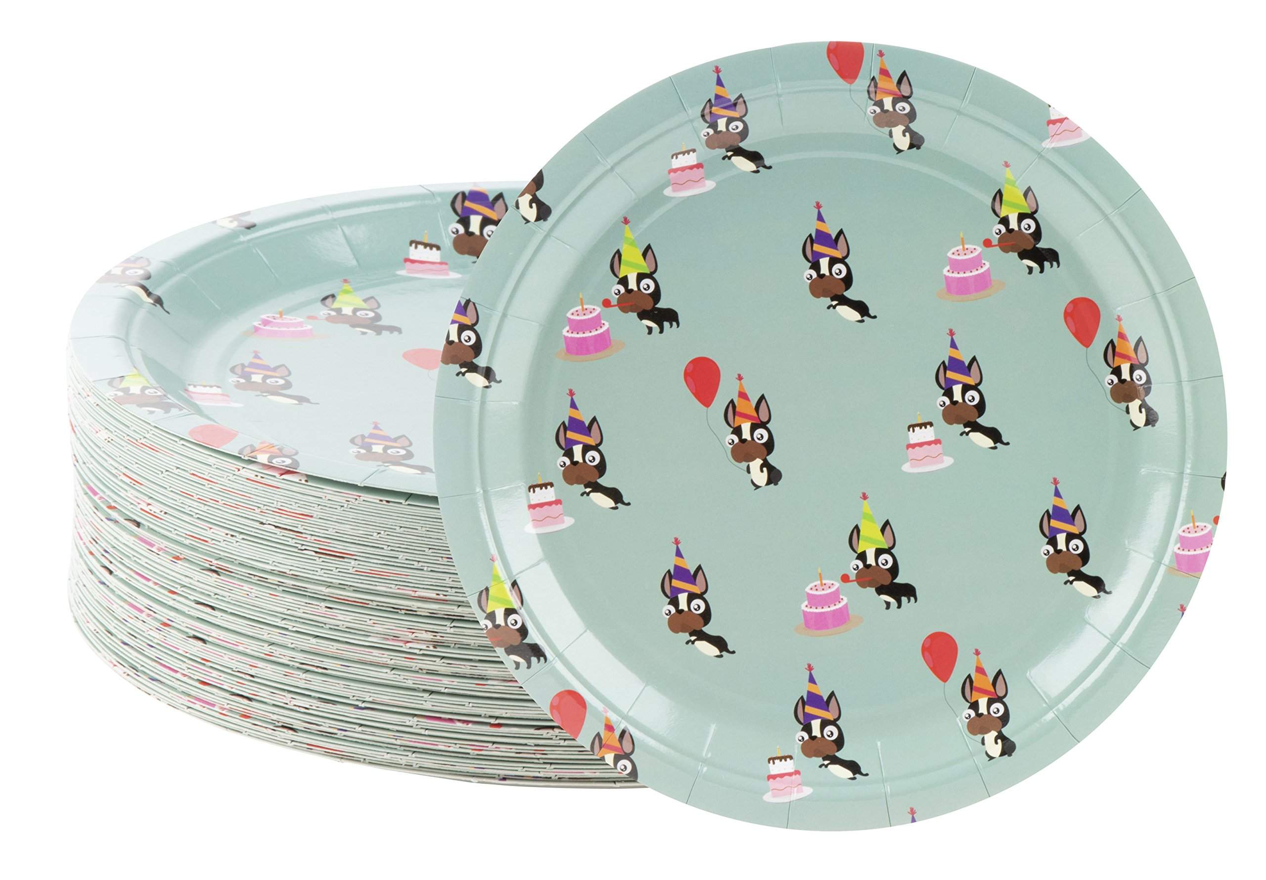Disposable Plates - 80-Count Paper Plates, Kids Birthday Party Supplies for Appetizer, Lunch, Dinner, and Dessert, French Bulldog Design, 9 x 9 inches by Blue Panda