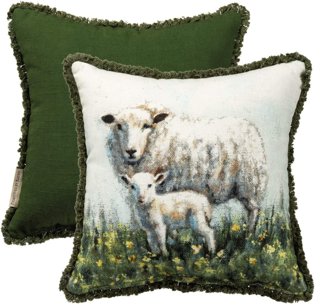 Primitives by Kathy, 105444, Sheep and Lamb Print Throw Pillow, Cotton Slub Fabric, Easter