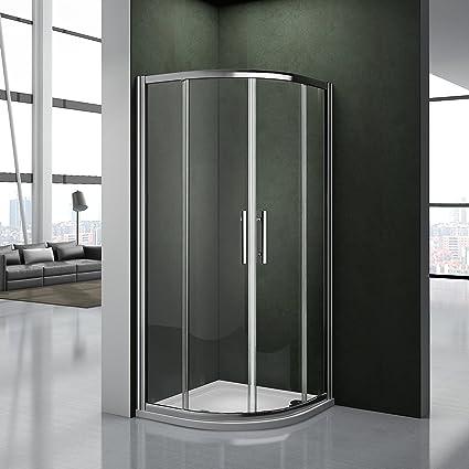 Porta Per Cabina Doccia.Cabina Doccia 80x80cm Semicircolare Porta Scorrevole Facile Da Installare Cristallo Temperato Trasparente Anticalcare