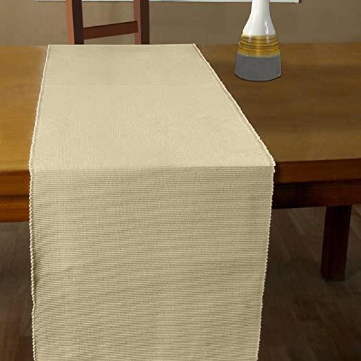 Homescapes   Table Runner   Cream   100% Ribbed Cotton   17 X 70 Inch