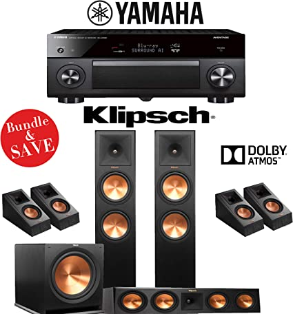 Klipsch RP-280F 5.1.4-Ch Reference Premiere Dolby Atmos Home Theater System with Denon AVR-X3500H 7.2-Channel 4K Network A//V Receiver