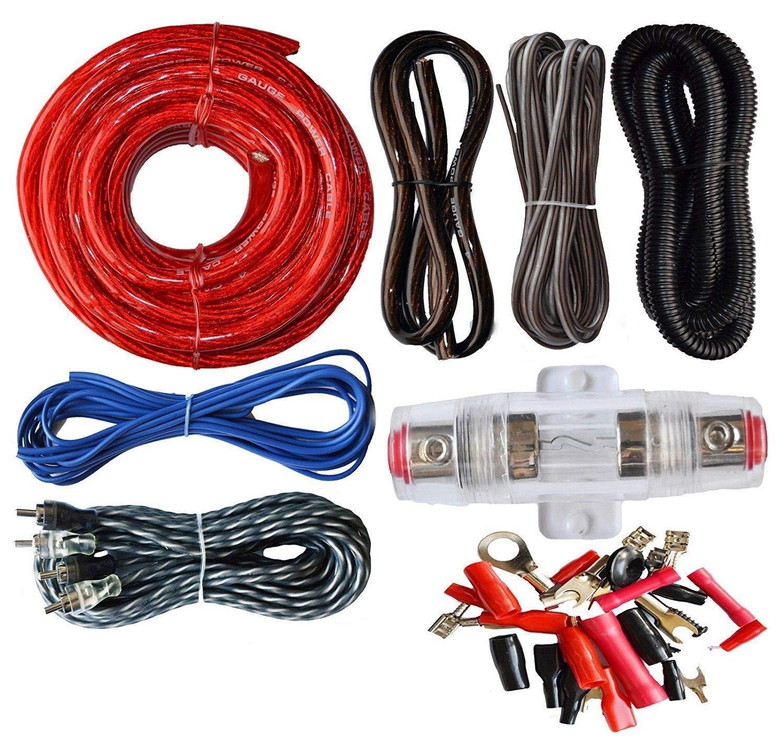 takestop® Kit Completo Cables 8AWG para Amplificador de Audio mj-d8ga RCA alimentación Estéreo Coche MOON 10012449