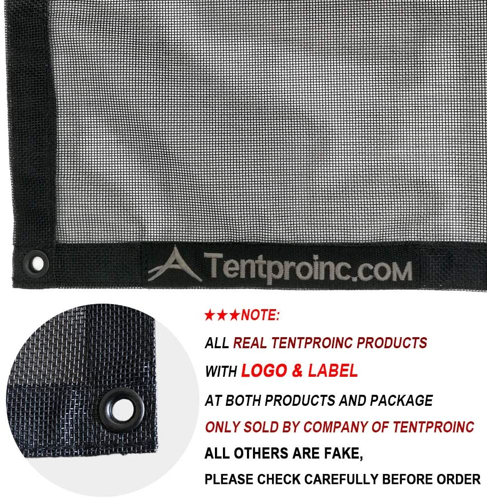 Black Tentproinc Heavy Duty Cover With 6 Pocket Reinforced Double Needle Stitch Webbing Ripping Tearing Stop Dump Truck Mesh Tarp 7X16 No Rust Thicker Brass Grommets 3 Years Limited Warranty