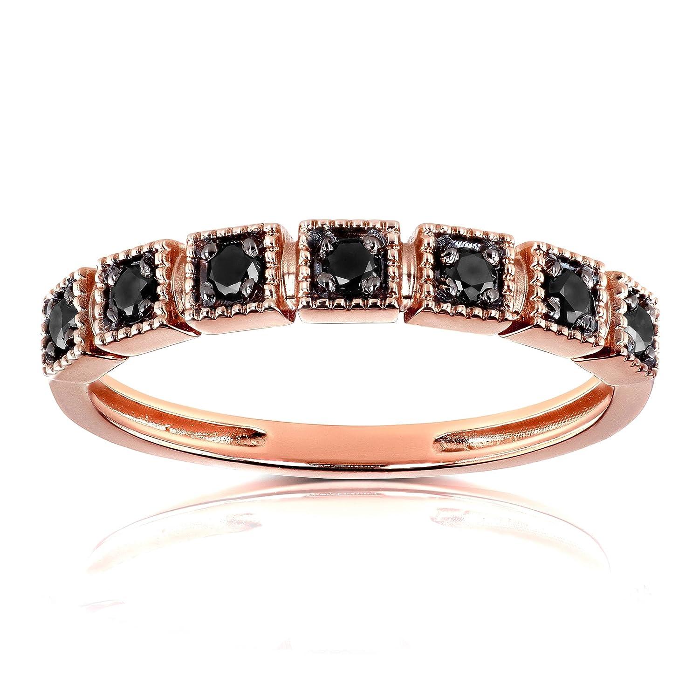 Amazon Black Diamond Wedding Ring 16ct Tdw In 10k Rose Gold Jewelry: Gold Black Diamond Wedding Bands At Reisefeber.org