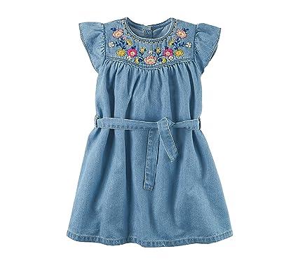4759a9500 Amazon.com: Carter's Girls' 2T-8 Embroidered Yoke Denim Dress: Clothing