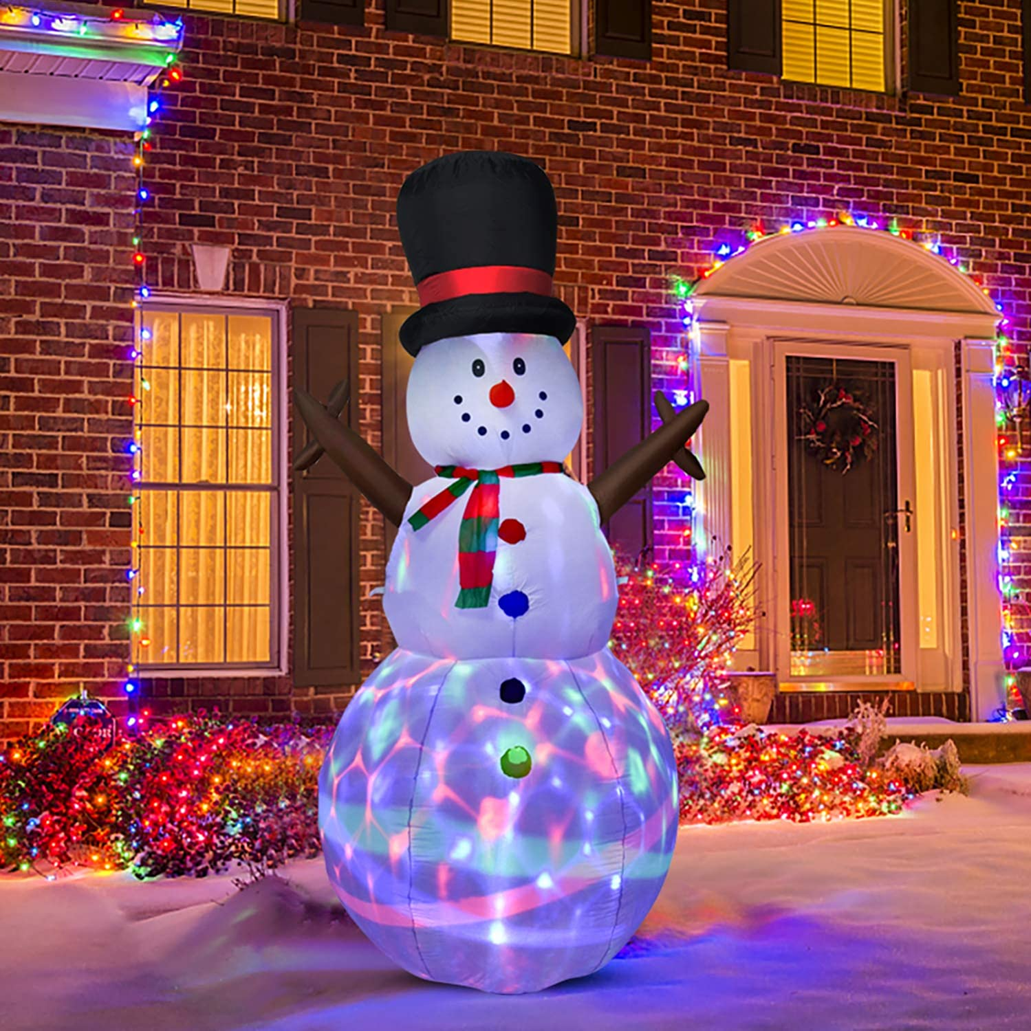 DearHouse 8 FT Inflatable Christmas Snowman, Rotating Led Lights Xmas Holiday Blow Up Family Party Decoration Yard Lawn Favors Indoor Outdoor Inflatables