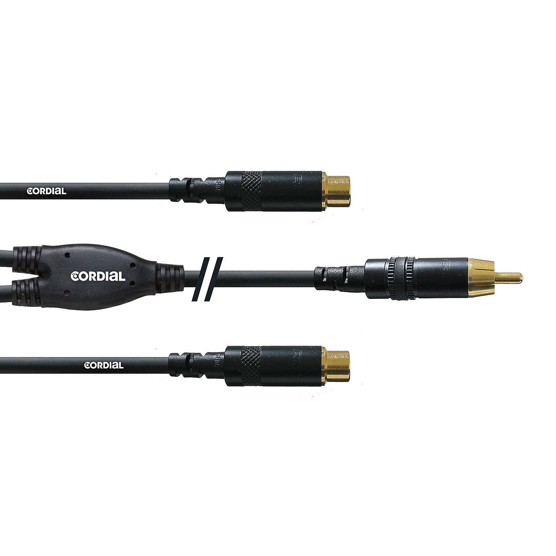 conector hembra est/éreo dorado de 6,3 mm a 2 clavijas doradas mono de 6,3 mm, 0,3 m Cable adaptador en Y Cordial CFY 0,3 KPP