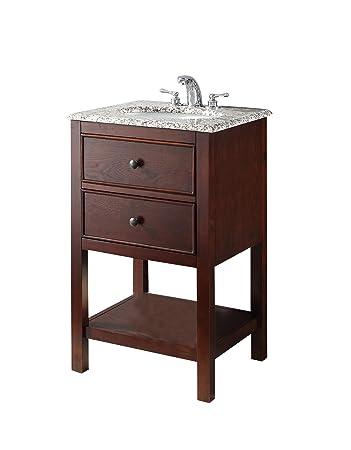 Simpli Home Burnaby 20u0026quot; Bath Vanity With Dappled Grey Granite Top,  Walnut Brown