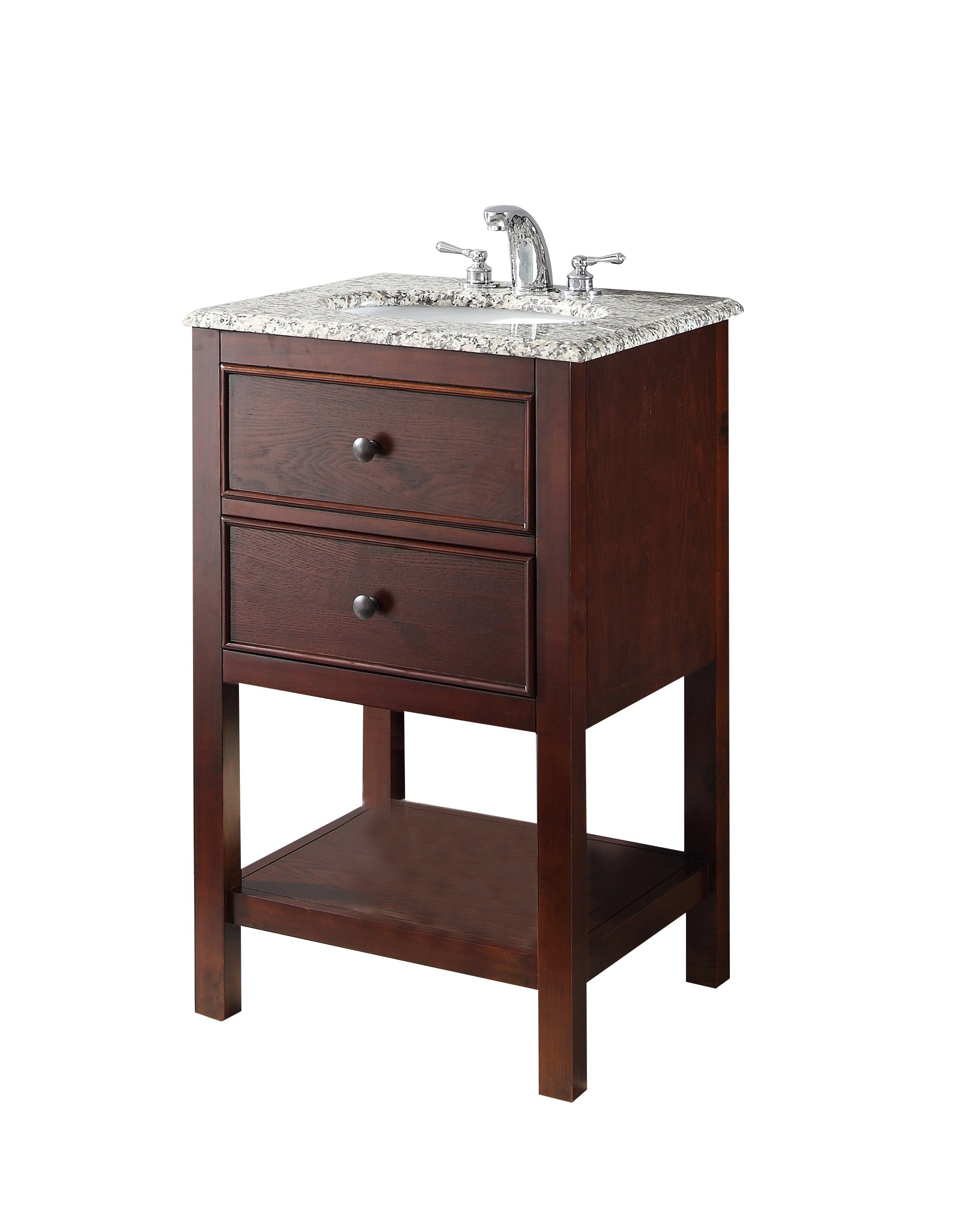 "Simpli Home NL-HHV022H-20-2A Burnaby 20 inch Contemporary Bath Vanity in Walnut Brown  with Dappled Grey Granite Top - Single sink bathroom vanity with one functional drawer and one open bottom shelf, hardwood frame and legs Vanity color: Walnut Brown with antique nickel round knobs Overall Vanity Size with Top: 21"" w x 19"" d x 34.5"" h; Top weight: 27 lbs., Top edge thickness: 11/16"" - bathroom-vanities, bathroom-fixtures-hardware, bathroom - 81cFvkWeGHL -"