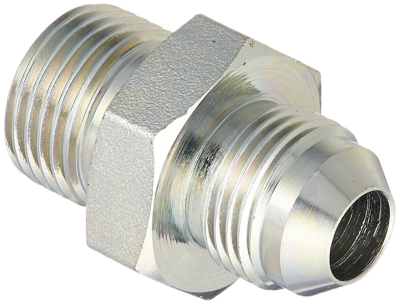 Brennan Industries 7002-08-08 Steel Straight Conversion Adapter Fitting, 3/4'-16 Male JIC x 1/2-14 Male BSPP