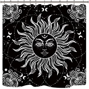Riyidecor Mandala Celestial Shower Curtain Sun Moon Black and White Decor Medallion Floral Fabric Set Polyester Waterproof 72x72 Inch 12 Pack Plastic Hooks